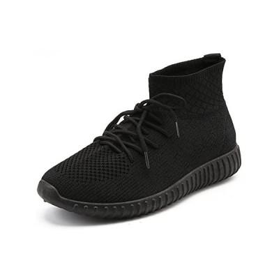 [HuKe] TIOSEBON ハイカット スニーカー メンズ ウォーキングシューズ カジュアル ショートブーツ (ブラック 25.0 cm)