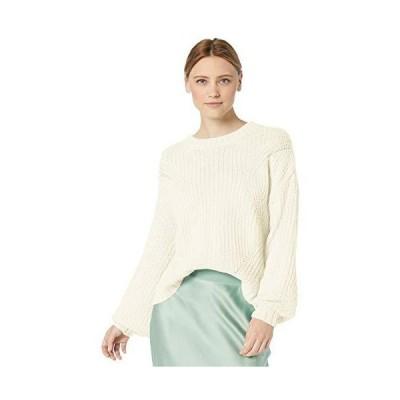 Splendid Women's Crewneck Cable Knit Pullover Sweater Sweatshirt, Natural,