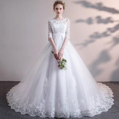 花嫁 ウェディングドレス ハイウエスト 妊婦もOK 袖あり ぽっちゃり 結婚式 締め上げ ロングドレス トレーンドレス ウエディングドレス