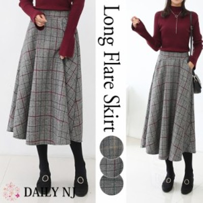 新作 レディース スカート ボトムス フレアスカート ロングスカート 秋冬 大人可愛い 暖かい グレンチェック  韓国ファッション ws17