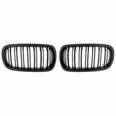 X AUTOHAUX フロントグリル 左側 右側 つや黒 BMW用 F15 X5 2015-2019 4 D用 ダブルライン