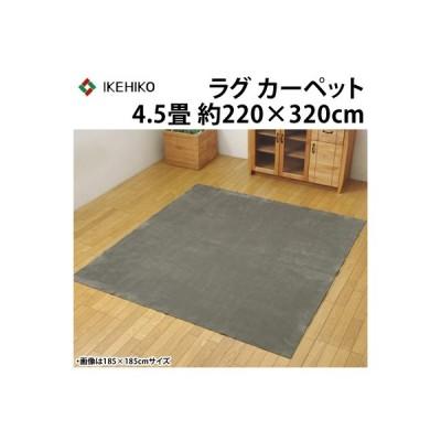 イケヒコ ラグカーペット 4.5畳 洗える 『イーズ』 グレー 約220×320cm 裏:すべりにくい加工 ホットカーペット対応 3963549