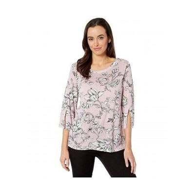 Tribal トリバル レディース 女性用 ファッション Tシャツ 3/4 Sleeve Scoop Neck Top - Lilac