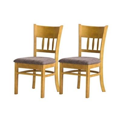 クロシオ ダイニングチェア 2脚セット 完成品 木製 ナチュラル 椅子 ファブリックブラウン 布地 幅41cm 4237