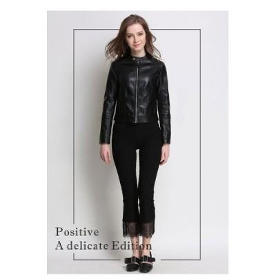 ジャケットレディス服女性アウターコート上着オーバースタジャンファッションシンプルロックノーカラーブラックベーシック本革風丸首