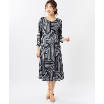 大きいサイズ 7分袖プリントカットソーワンピース(オトナスマイル) ,スマイルランド, ワンピース, plus size dress