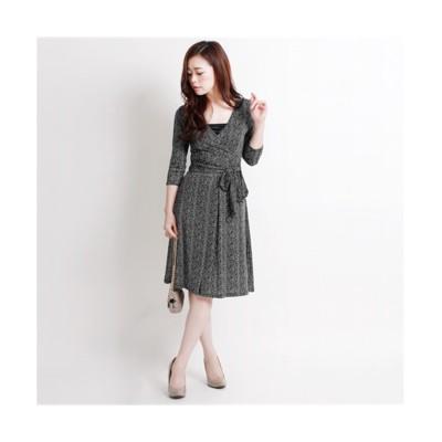 MARTHA(マーサ)ヘリンボンプリントジャージーカシュクールワンピース (ワンピース)Dress