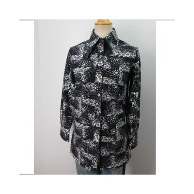 Lemington Boutique レディース 柄シャツ  長袖 黒 銀ボタン JAPAN 古着 sy643