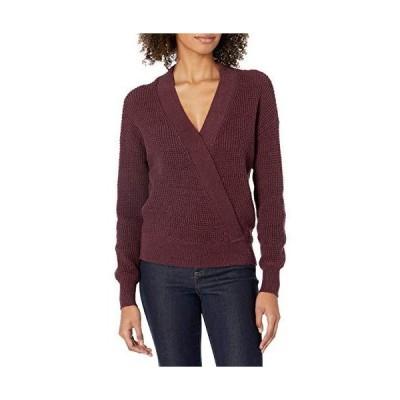 ASTR the label Women's Stephanie V Neck Crossover Sweater, Wine-Black, s並行輸