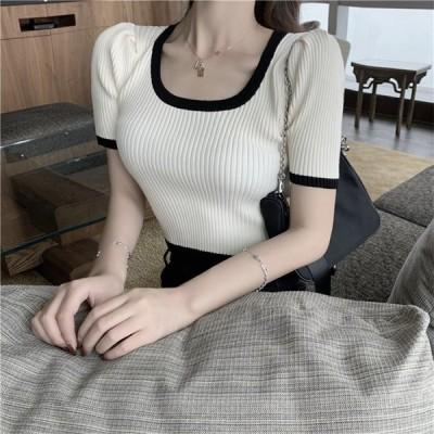 体型カバーに効く Tシャツ ニットトップス 夏 新作 レディース トップス セクシー 女の子ファッション