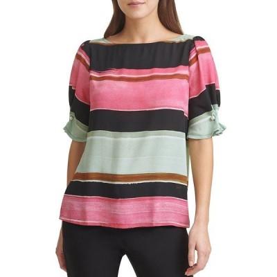 ダナ キャラン ニューヨーク レディース シャツ トップス Pearl Trim Short Sleeve Shiny Stripe Blouse Lipstick Pink