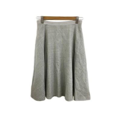 【中古】ロペ ROPE スカート フレア ひざ丈 刺繍 ウール 38 グレー レディース 【ベクトル 古着】