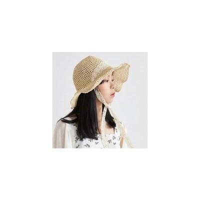 レディース 帽子 レース 折りたたみ ストローハット ストロー帽子 カンカン帽子 麦わら帽子 uvカット 日よけ帽
