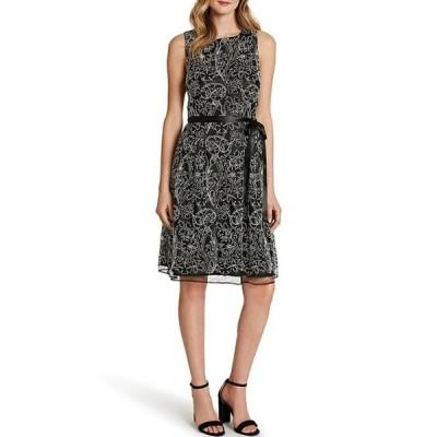 タハリエーエスエル  レディース ワンピース トップス Embroidered Mesh Sleeveless Belted A-Line Dress