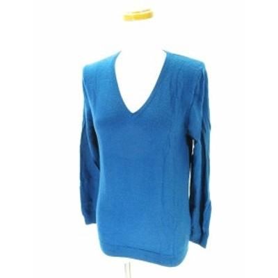 【中古】ユニクロ UNIQLO ニット セーター 長袖 ハイゲージ Vネック 青 ブルー XL レディース