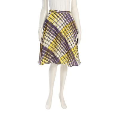 エムエスジーエム MSGM スカート チェック柄 シルク 白 紫 黄色 レディース 中古