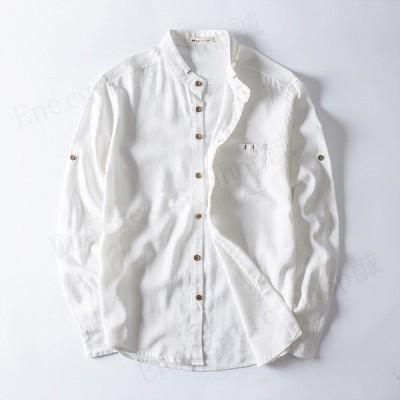 リネンウンシャツ メンズ 長袖 無地 リネン 綿 麻 3色 大きいサイズ カジュアルシャツ