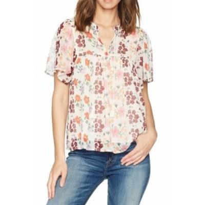 lucky ラッキー ファッション トップス Lucky Brand Womens White Size Small S Floral Print V-Neck Blouse
