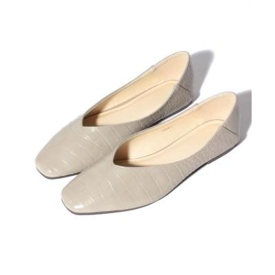 (Shoes in Closet/シュークロ)2Way スクエアトゥ Vカット フラットパンプス/レディース グレージュ