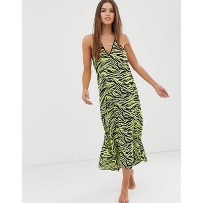 ミスセルフフリッジ レディース ワンピース トップス Miss Selfridge midi beach dress in zebra print