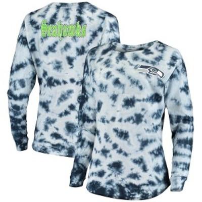 ニューエラ レディース Tシャツ トップス Seattle Seahawks New Era Women's Tie-Dye Long Sleeve T-Shirt College Navy