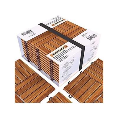 Acacia ハードウッド インターロッキング パティオデッキタイル 12インチ × 12インチ (10個パック) 取り付け簡単 屋内・屋外兼用 - [並行輸入品]