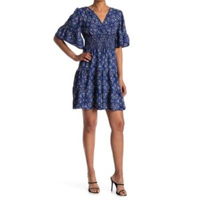 マックスタジオ レディース ワンピース トップス Tiered Smocked Waist Surplice Dress BLURDFBO-BLUE/RED FLORAL BUTA ORNAMENT