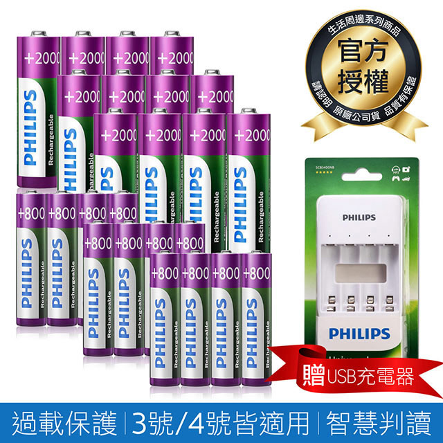 【PHILIPS】低自放鎳氫充電電池3號12入+4號12入(贈USB智慧型充電器)