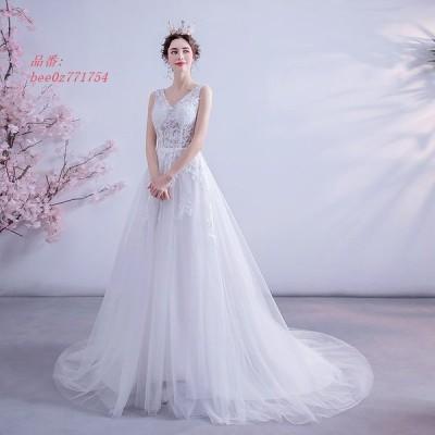 ウェディングドレス ドレス 結婚式 二次会 ホワイト 花嫁 披露宴 白ドレス ロングドレス 安い トレーン ブライダル ホワイト ウェディング