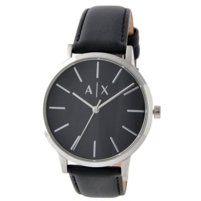 アルマーニエクスチェンジ 腕時計 メンズ ARMANI EXCHANGE レザー ブラック/シルバー