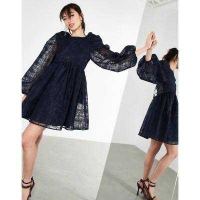 エイソス レディース ワンピース トップス ASOS EDITION embroidered mini smock dress in navy