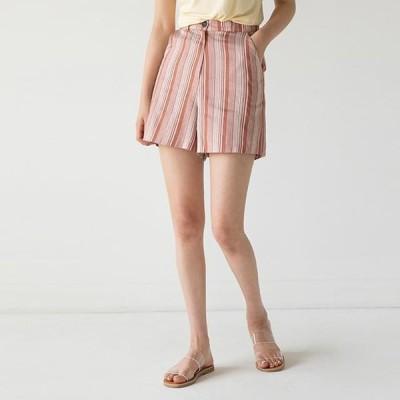 BANHARU レディース ショートパンツ Striped linen short pants