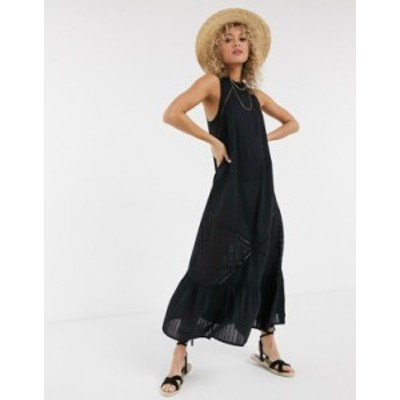 エイソス レディース ワンピース トップス ASOS DESIGN lace insert trapeze maxi dress with pephem in black Black