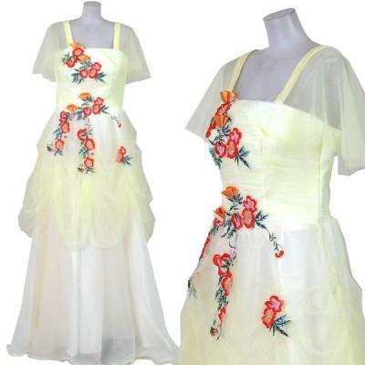 カラオケ衣装 ロングドレス 姫ドレス カラオケドレス 舞台 ステージ衣装 黄色