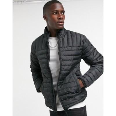 オンリーアンドサンズ メンズ ジャケット・ブルゾン アウター Only & Sons quilted jacket with stand collar in black