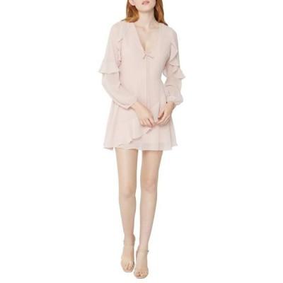 ビーシービージェネレーション レディース ドレス  Cocktail Tie Front Ruffle Woven Dress