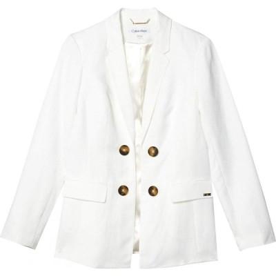 カルバンクライン Calvin Klein レディース スーツ・ジャケット アウター Linen Double Breasted Jacket White