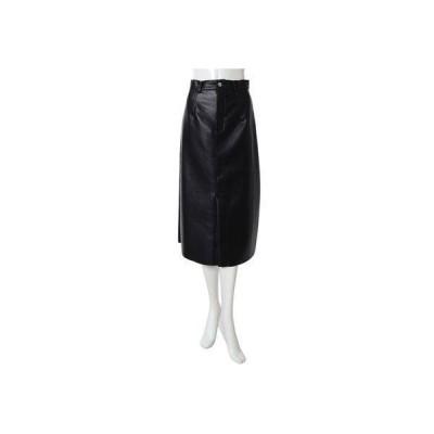 フィフス fifth フェイクレザーミディスカート (ブラック)