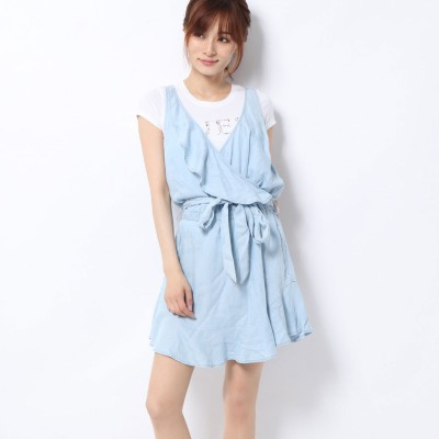 ゲス GUESS GIANNA CHAMBRAY RUFFLE DRESS (SUPER BLEACHED WASH)