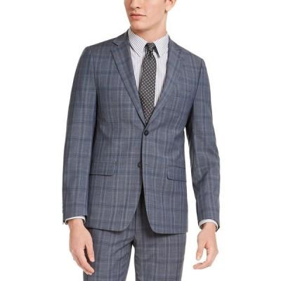 カルバンクライン ジャケット&ブルゾン アウター メンズ Men's Skinny-Fit Gray/Blue Plaid Suit Jacket Grey / Blue