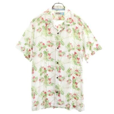 ラスケー 総柄 アロハシャツ XL 白 RUSS K レーヨン メンズ 古着 200711 メール便可