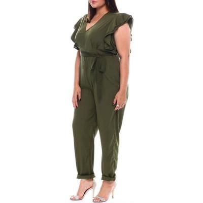 ファッションラボ Fashion Lab レディース オールインワン ジャンプスーツ ワンピース・ドレス plus straight leg full length jumpsuit self belt Olive