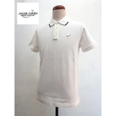 JACOB COHEN(ヤコブ コーエン) ウォッシュド加工 ストレッチ 半袖 ポロシャツ ホワイト(白)