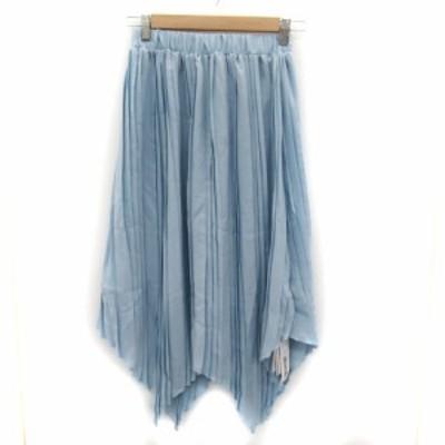 【中古】未使用品 メルロー merlot スカート プリーツ ロング丈 マキシ丈 無地 F ライトブルー /YK11 レディース