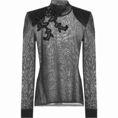 クリストファー ケイン Christopher Kane レディース トップス Embroidered metallic top Black/Silver