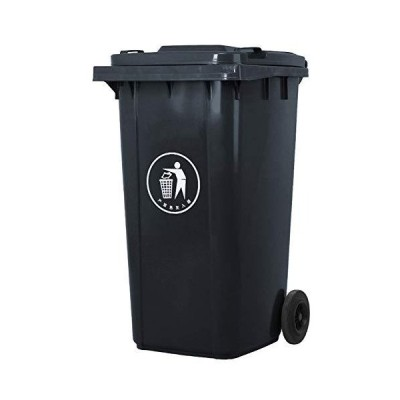 JYOKK Wheeled Trash Cans High-Capacity Waste Bins 100 L Garbage Can Thicken Plastic Can with Lid Street Outdoor Park,Black