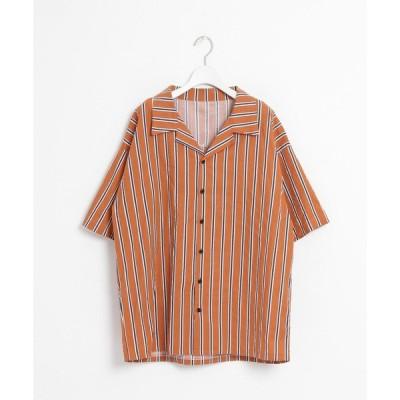 シャツ ブラウス Color Stripe オープンカラーシャツ