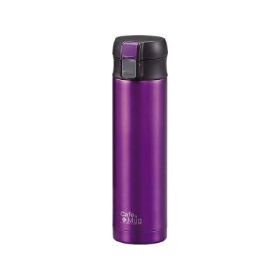 パール金属 水筒 H-7555 300ml 直飲み ステンレス スリム ワンタッチ マグ カシス カフェマグ