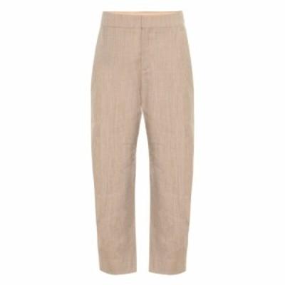 クロエ Chloe レディース クロップド ボトムス・パンツ Cropped high-rise stretch-wool pants Foggy Khaki