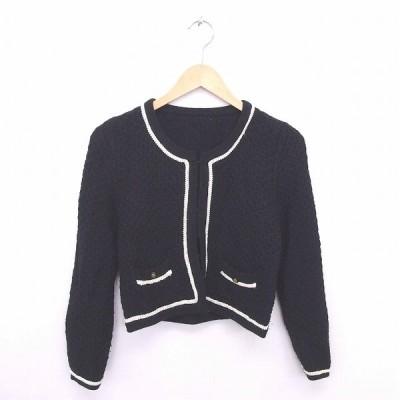 【中古】クリアインプレッション CLEAR IMPRESSION ジャケット アウター ノーカラー ニット ホック留め ウール混 長袖 2 黒 ブラック /TT23 【ベクトル 古着】